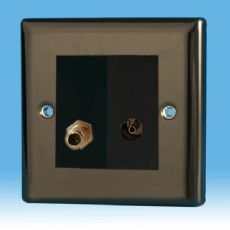 Varilight 2 Gang Datagrid Plate Iridium Black + Satellite TV Outlet & + TV Outlet module XIG2+Z2